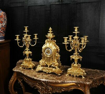 Huge Antique French Gilt Bronze Clock Set B and V Paris Superb