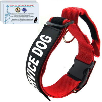 SERVICE DOG Collar Harness with Handle and Reflective Patches + 3 Free ADA Cards
