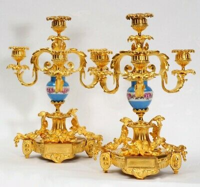 Antique French Gilt Bronze Ormolu And Sevres Porcelain Candelabra Quality