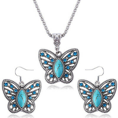 Fashion Turquoise Drop Earrings Crystal Buttefly Pendant Neckla Set for Women I