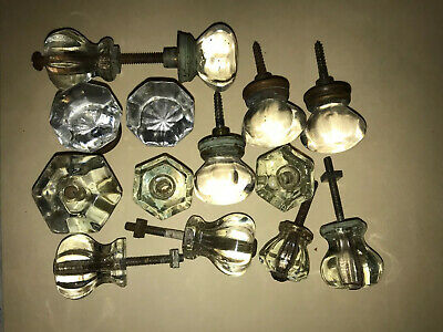 14 Antique Glass Drawer Knobs Various Sizes
