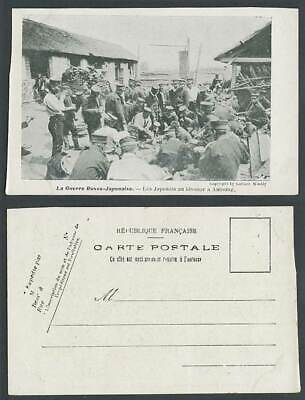 China Old Postcard Russo-Japanese War, Soldiers at Antung, Chinese House 安東 日露戰役