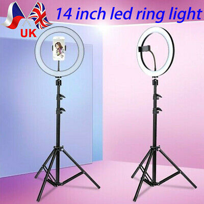 14 Inch LED Ring Light With Stand and Phone Holder Make-up for Camera iPhone UK