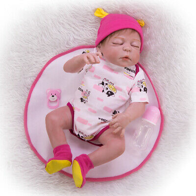 "Full Body Vinyl Silicone 22"" Reborn Girl Doll Lifelike Newborn Baby Dolls Gifts"