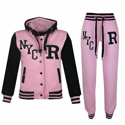 Kids Girls Boys Hooded NYC Baseball Varsity Baby Pink Tracksuit Hoodie & Bottom