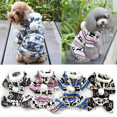 Soft Fleece Dog Hoodie Jumpsuit Winter Dog Clothes Small Puppy Coat Pet Outfits