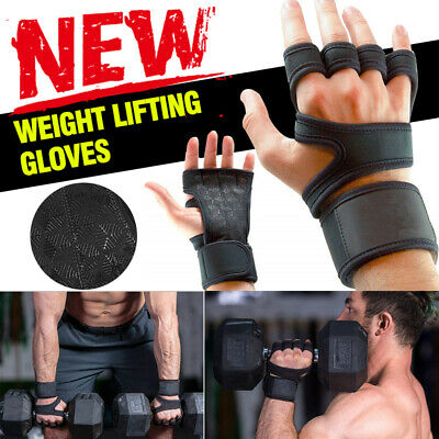 Fitness Training Weight Lifting Leather Gel Gloves Cross fit Body Building Gym