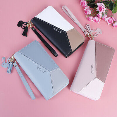 3color Women Cute Forever Young Splicing PU Leather Zipper Clutch Long Wallet