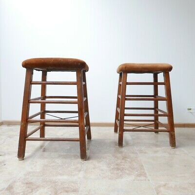 Vintage Pair of Gym Bench Bar Stools
