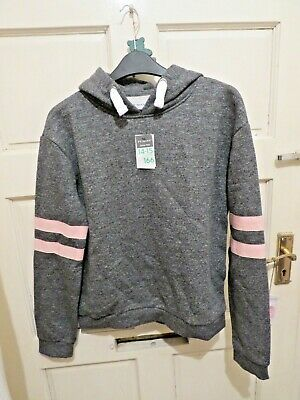Primark Grey Marl Hoodie,Pink Hoops On Sleeves Age 14- 15 Bnwt