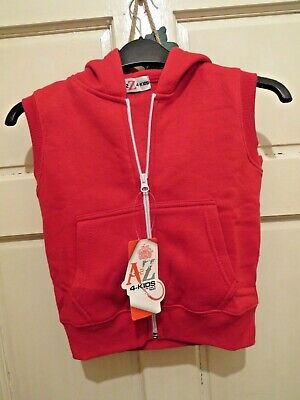 A To Z Kids Red Hooded , Zip Front Gilet Age 5-6 Bnwt