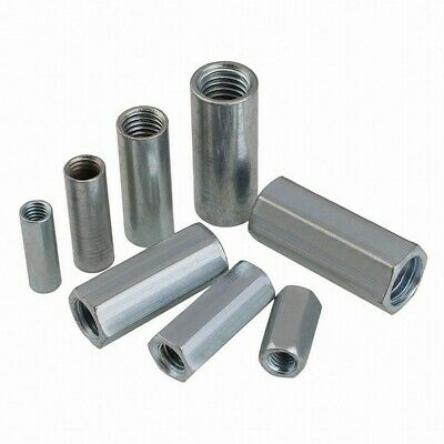 M6 M8 M10 M12 Hex/ Round Nuts Metric Rod Coupling Nuts Steel Connector Nuts