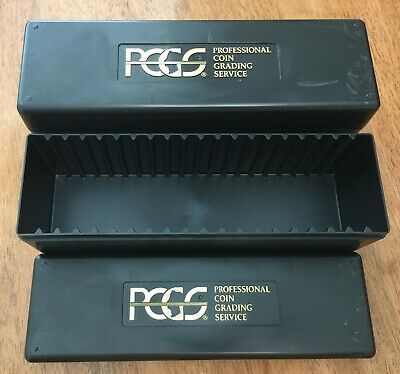 Two (2) Used Empty CLEAN PCGS Plastic Storage Box ~ Black ~ Holds 20 PCGS Slabs
