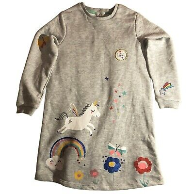 Ex Marks & Spencer Girls Grey Top Horse and Rainbow Blouse M&S Kids