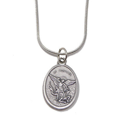"Our Lady of Fatima medal pendant silver plated snake chain 18/"" necklace"