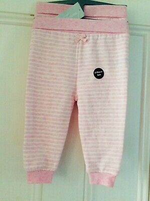 New baby girls pack of 2 baby trousers, 6-9 months