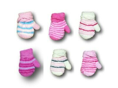 Baby Girl Toddler Winter Fluffy Mittens With String Stripy Gloves Size 9m-3Years