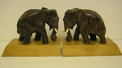 Beautifully Hand Carved Pair Of Wooden Elephant Bookends On Wooden Plinths