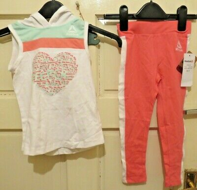 Reebok , 2 Piece Outfit , Hooded T Shirt And Leggings Age 4 Bnwt