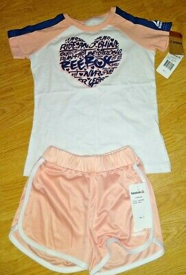 Reebok , 2 Piece Outfit , White / Peach T Shirt And Shorts Age 6 Bnwt