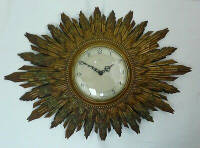 Large Vintage Smiths Sunburst Starburst Art Deco Wall Clock 1950 SEE DESCRIPTION