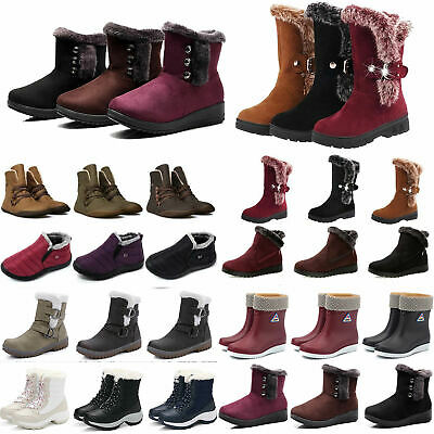 Womens Ladies Winter Ankle Flat Faux Fur Lined Snow Boots Sneakers Shoes Outdoor