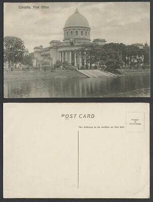 India Old Postcard Calcutta General Post Office G.P.O GPO Lake Clock Steps Trees