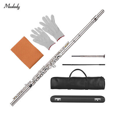 Muslady 17-Hole C Flute Open/Closed Pore Cupronickel Material Silver Plated D2Z1