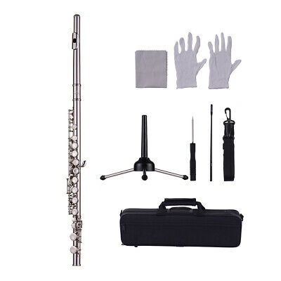 16-Hole Flute C Key Cupronickel Wind Instrument Padded Carry Case Silver S9I2