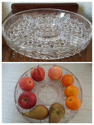 Lead Crystal Clear Glass Divided Serving Dish Dips Sweets Christmas Sparkle