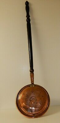 Antique Etched Copper Bed Warmer with Ebonised Handle