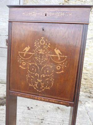 Edwardian SLIM BUREAU - Upright. Marquetry and Drop-Down Writing Surface.