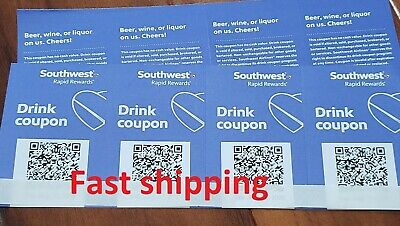 Southwest Airlines Coupons Drink Voucher Beverage Exp 8/31/20 Fast shipping