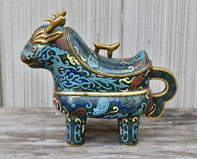 Antique Chinese Cloisonne Foo Dog Bull Figurine Box Vessel