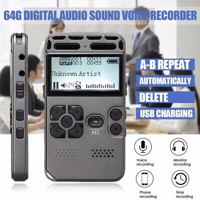 Rechargeable 64G HiFi Digital Audio Sound Voice Recorder MP3 Player Dictaphone