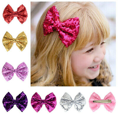 Kids Glitter Headband Elastic Bowknot Hair Bands Girls Bow-knot Baby Bow 4.7""