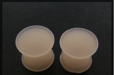 PAIR OF 7//16 INCH 000G 12mm FLESH SILICONE PLUGS MATTE FINISH RETAINER