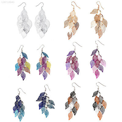 Fashion Women/Girls 925 Sterling Silver Charm Earring Hollow Leave Jewelry Gift