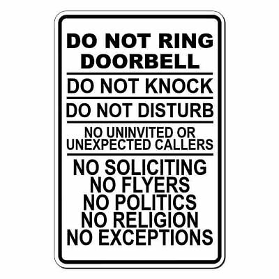 STRICTLY NO POLITICAL CANVASSERS LABEL DOOR WINDOW STICKER SIGN