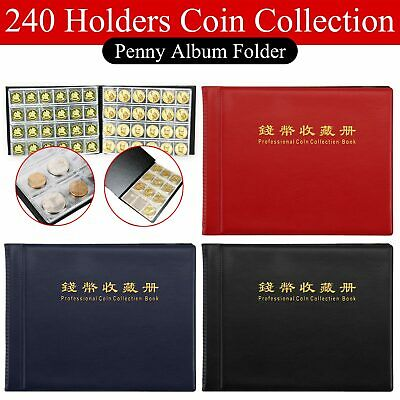 240 Coin Holder Collection Storage Collecting Money Penny Pockets Album Book UK