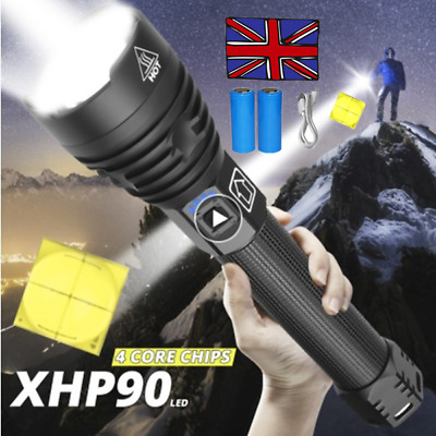 Ultra Bright xhp70 XHP90 most powerful led rechargeable flashlight Zoom torch UK