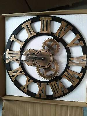 Extra Large Roman Numerals Skeleton Wall Clock Big Giant Open Face Vintage Metal