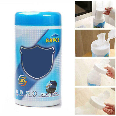 88Pcs/Box Moistened Lens TV Laptop Cell Phone Screen Cleaning Cloths Wipes