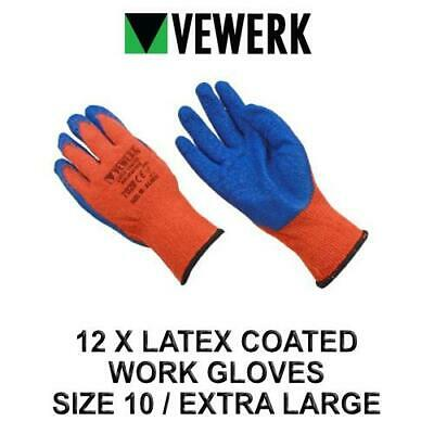 VEWERK 12 Pairs Of Hard Wearing Latex Coated Work Gloves Size 10 / Extra Large