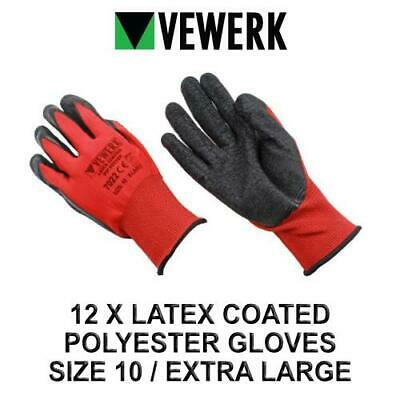 VEWERK 12 Pairs Hard Wearing latex Coated Polyester Gloves Size 10 / Extra Large