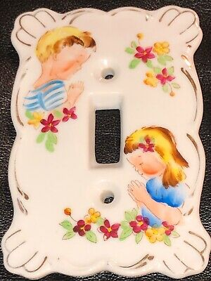 Lefton Kelvin Switch Plate Cover Praying Children Fine China Porcelain 1960s P/O