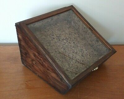 Antique Sloping Glass Display Case Solid Oak Wood -Dual Fronted- Table Top/ Wall