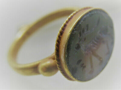Circa 200-300Ad Ancient Roman High Carat Gold Ring With Agate Gazelle Intaglio