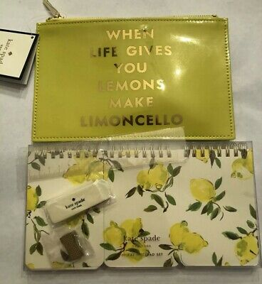 Kate Spade Limoncello Life Gives Lemons Pencil Pouch 3 Spiral Notebooks Gift Set