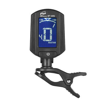 eno ET-33U Portable Clip-On Tuner LCD Display for Guitar Chromatic Ukulele B8F8